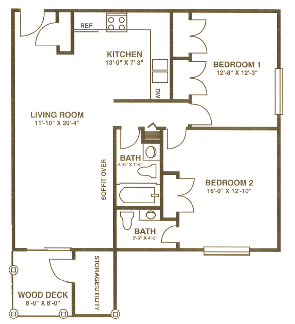 Scroll below to see all 3 two bedroom floor plans.