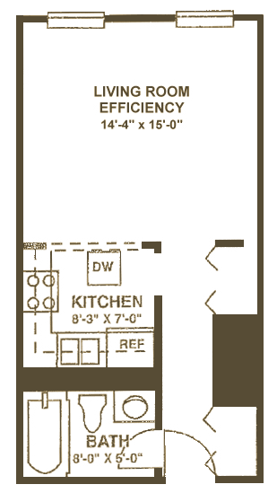 Studio Apartment on Marshall Floor Plan